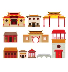 China Building Objects Set vector image vector image