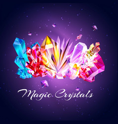 colored crystals and gems vector image
