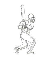 Cricket batsman batting doodle art vector