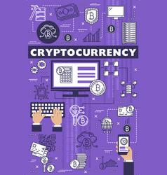 cryptocurrency blockchain bitcoin mining theme vector image