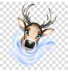 Cute reindeer with transparency vector