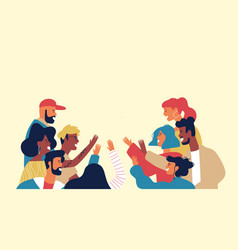 Diverse multi ethnic friend group young people vector