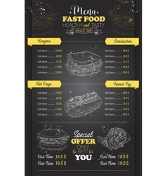 drawing vertical scetch fast food menu vector image