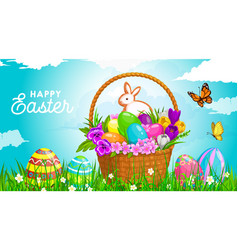 easter basket with eggs bunny religion holiday vector image