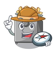 Explorer cooking french fries in deep fryer vector