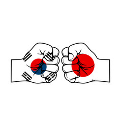 fists with japan and south korea trade war vector image