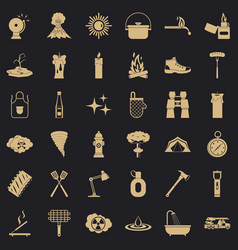 Flame icons set simle style vector