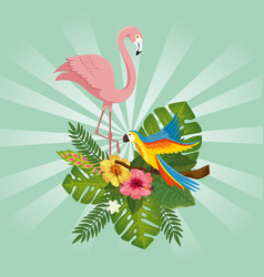 Flamingo pink with parrot with flowers and leafs vector