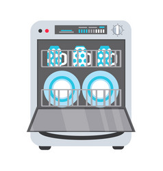 Flat freestanding dishwasher dishwashing machine vector