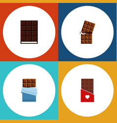 flat icon sweet set of bitter chocolate dessert vector image