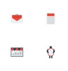 flat icons monitoring man with banner journal vector image