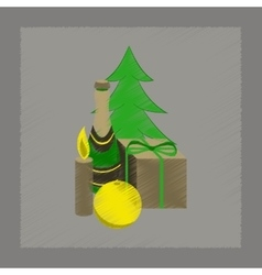 flat shading style icon Christmas gift vector image