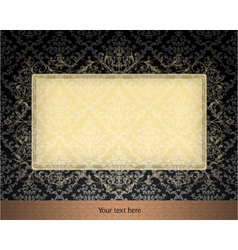 Floral frame with damask background vector
