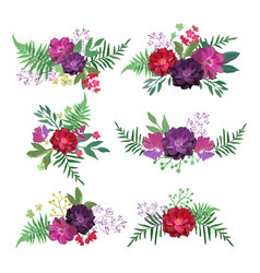 floral set collection with flowers hand drawn vector image