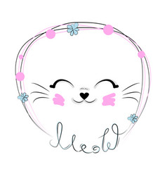 Funny cat girl face in a flower chain with text vector