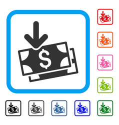 get banknotes framed icon vector image