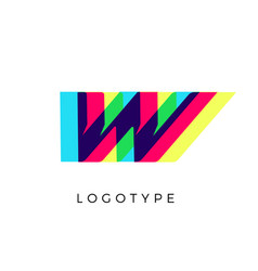 Glitch effect letter w colored spectrum overlay vector