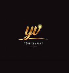 gold alphabet letter yv y v logo combination icon vector image