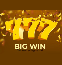 Golden slot 777 with flying golden confetti wins vector
