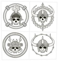 grayscale skull ornament vector image
