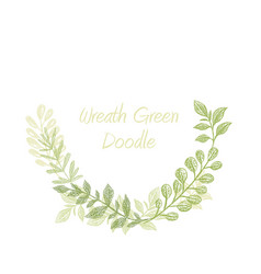 Greenery doodle semicircle wreath vector
