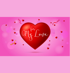 greeting romantic card with big red vector image