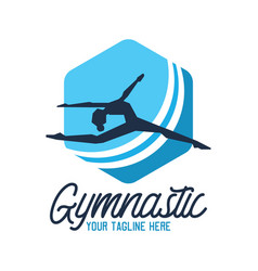 gymnastic sport logo with text space vector image