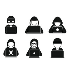 Hacker man icons set simple style vector