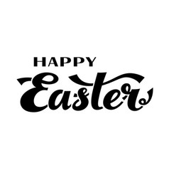 Happy easter black and white lettering vector