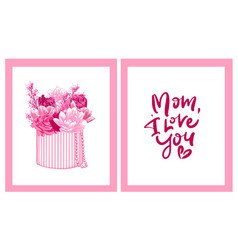 Happy mother s day greeting cards set composition vector