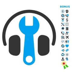 Headphones Tuning Flat Icon with Bonus vector image
