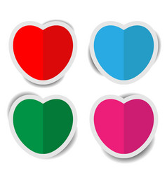 heart paper stickers with shadows vector image