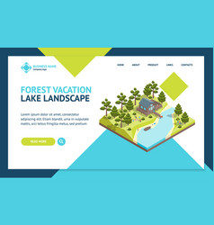 house forest lake concept landing web page vector image
