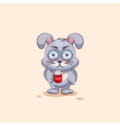 isolated Emoji character cartoon Gray leveret vector image