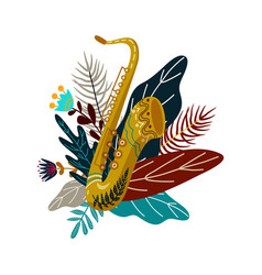 isolated on white background saxophone and leaves vector image