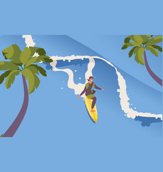 Isometric man riding surfboard long wave palms vector