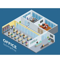 Isometric Office Interior View Poster vector