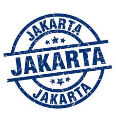 Jakarta blue round grunge stamp vector