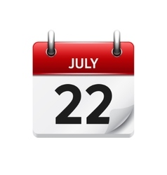July 22 flat daily calendar icon Date vector