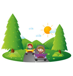 Kids driving on the road vector