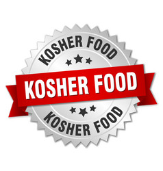 Kosher food 3d silver badge with red ribbon vector