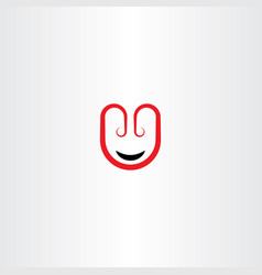 Letter u face icon logo vector