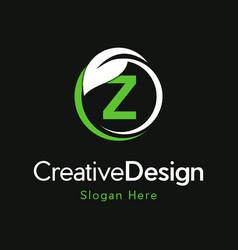 Letter z circle leaf creative business logo vector