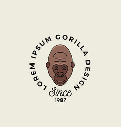 Line style gorilla ape or monkey face with retro vector