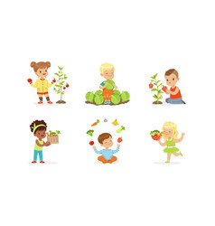 Little kids sitting on garden-bed playing with vector