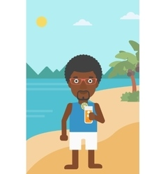 Man with cocktail on the beach vector