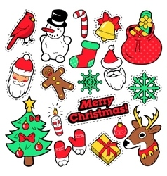 Merry Christmas Badges Patches Stickers vector