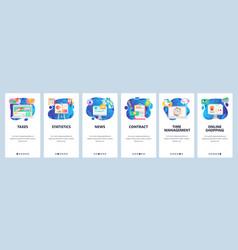 Mobile app onboarding screens financial chart vector