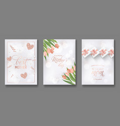 Mothers day greeting card design set happy mother vector