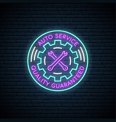 neon sign of auto service neon car service vector image